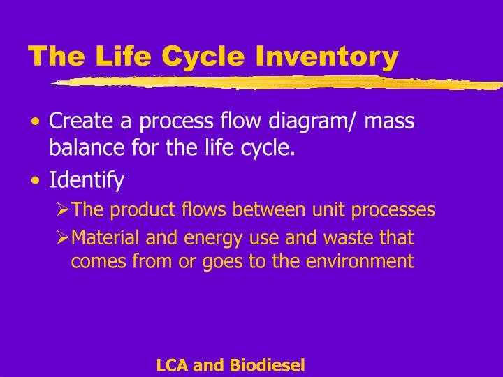 The Life Cycle Inventory