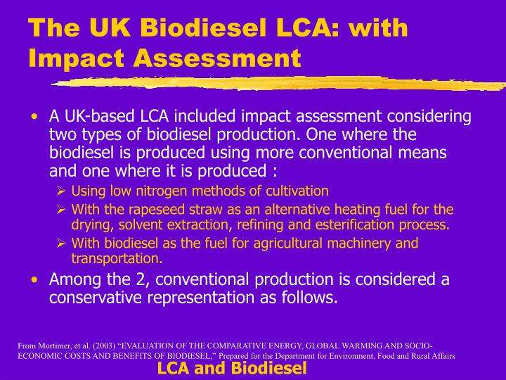 The UK Biodiesel LCA: with Impact Assessment