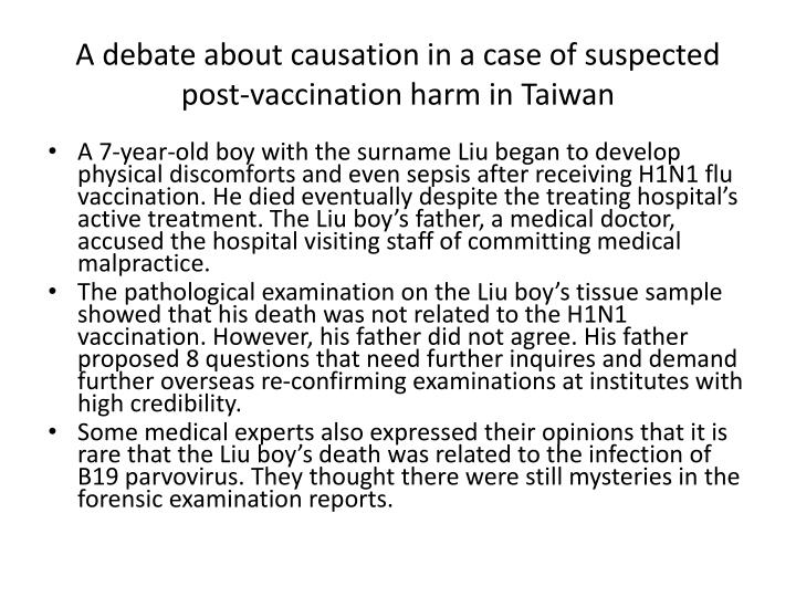 A debate about causation in a case of suspected post-vaccination harm in Taiwan