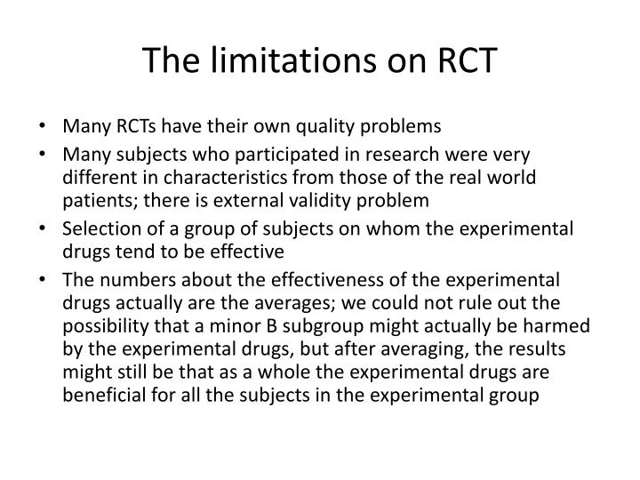 The limitations on RCT