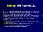 driver un agenda 21