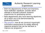 authentic research learning experiences