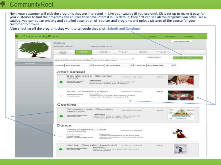 Next, your customer will pick the programs they are interested in. Like your catalog (if you use one), CR is set up to make it easy for your customer to find the programs and courses they have interest in. By default, they first can see all the programs you offer. Like a catalog, you can put an exciting and detailed description of  courses and programs and upload pictures of the course for your customer to browse.