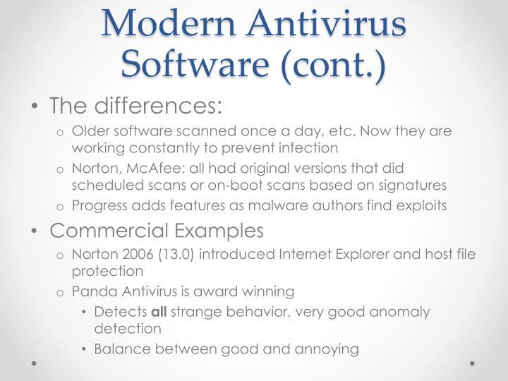 Modern Antivirus Software (cont.)