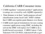 california carb consumer items