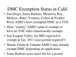 dmc exemption status in calif