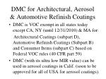 dmc for architectural aerosol automotive refinish coatings