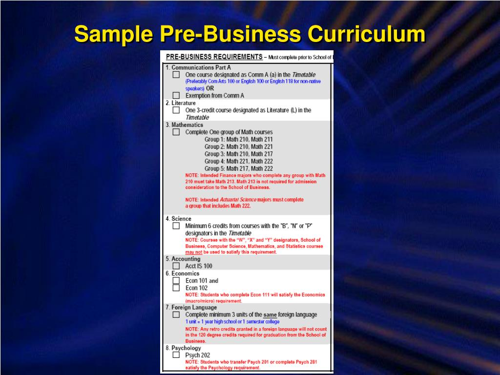 Sample Pre-Business Curriculum