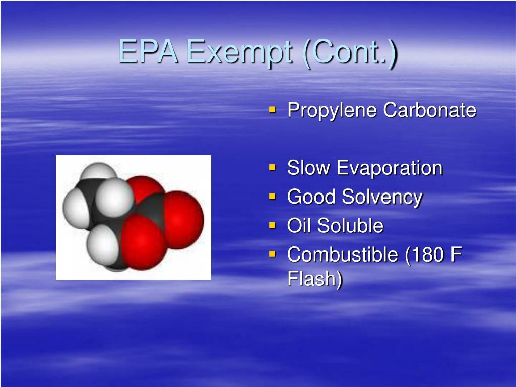 EPA Exempt (Cont.)