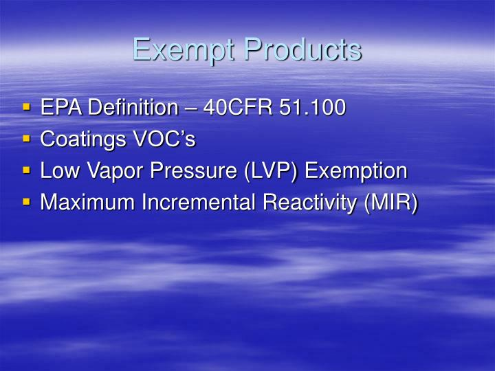 Exempt products
