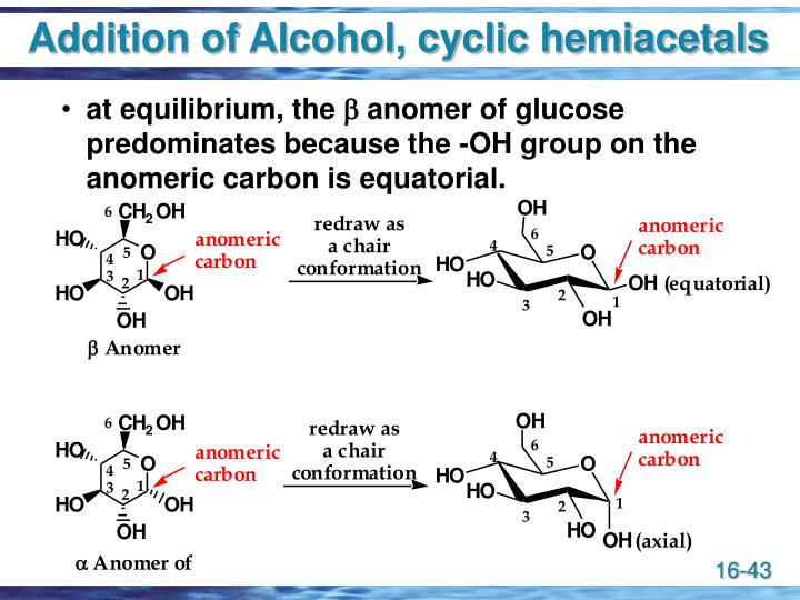 Addition of Alcohol, cyclic hemiacetals