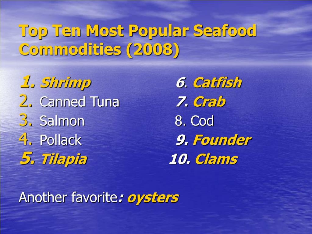 Top Ten Most Popular Seafood Commodities (2008)