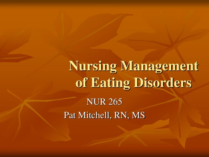 nursing management of eating disorders n.