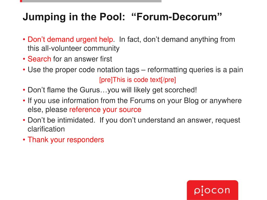 "Jumping in the Pool:  ""Forum-Decorum"""