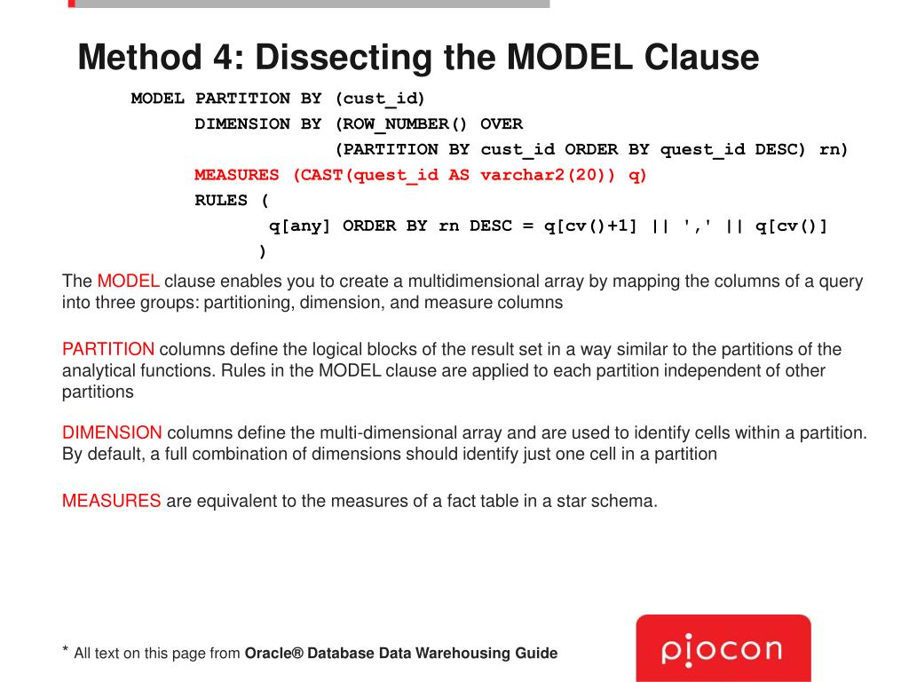 Method 4: Dissecting the MODEL Clause