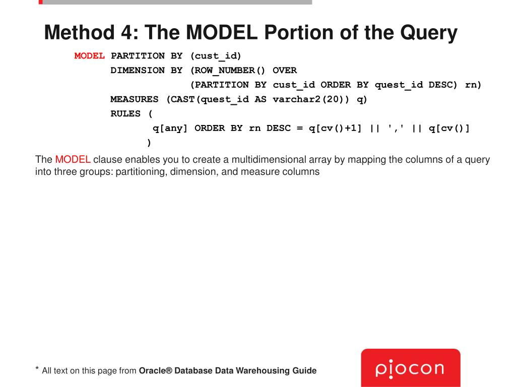Method 4: The MODEL Portion of the Query