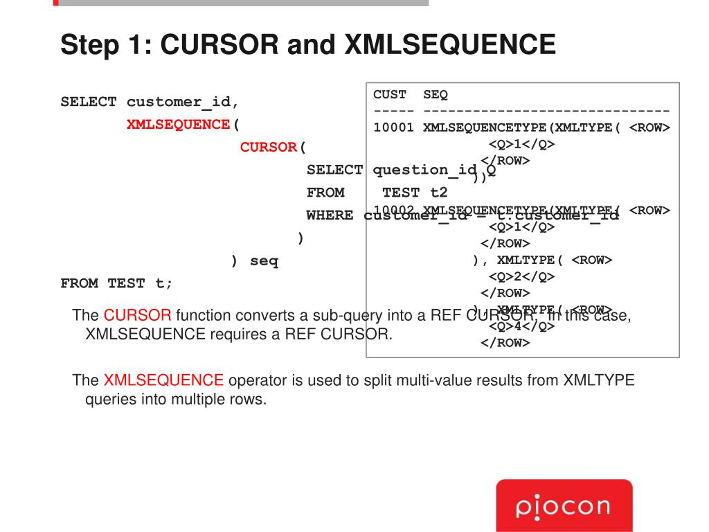 Step 1: CURSOR and XMLSEQUENCE