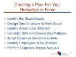 creating a plan for your reduction in force
