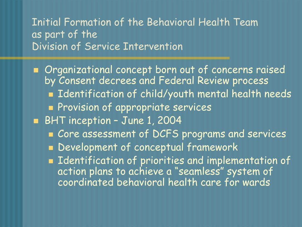 Initial Formation of the Behavioral Health Team