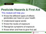 pesticide hazards first aid