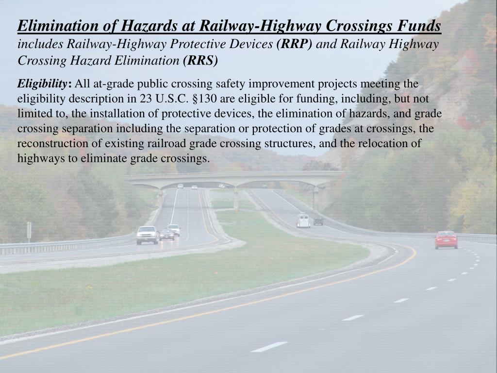 Elimination of Hazards at Railway-Highway Crossings Funds