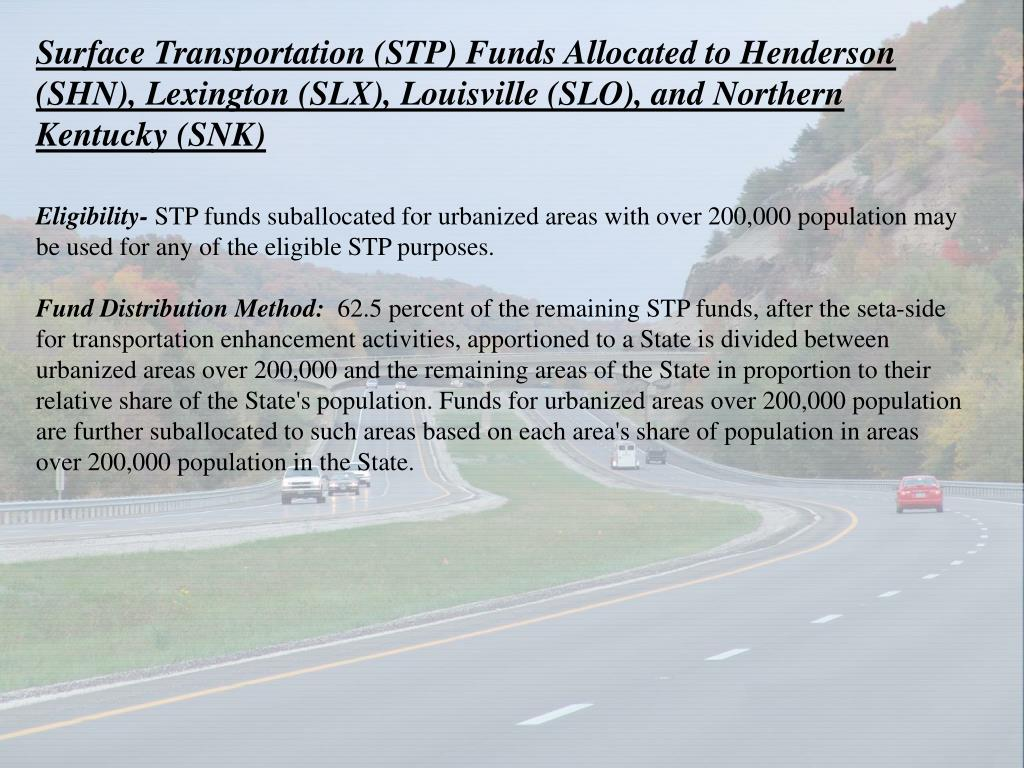 Surface Transportation (STP) Funds Allocated to Henderson (SHN), Lexington (SLX), Louisville (SLO), and Northern Kentucky (SNK)