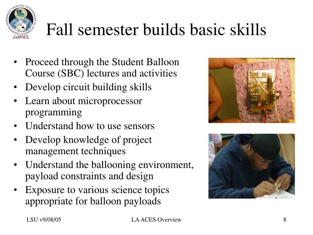 Fall semester builds basic skills
