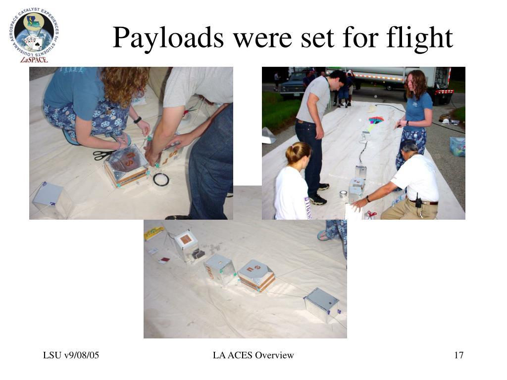 Payloads were set for flight
