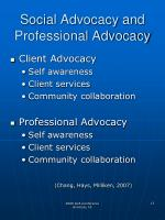 social advocacy and professional advocacy