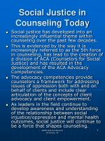 social justice in counseling today