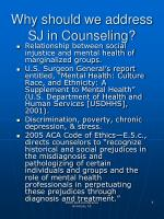 why should we address sj in counseling