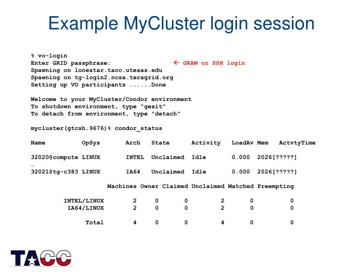 Example MyCluster login session