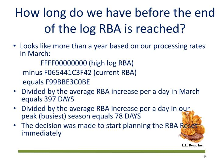 How long do we have before the end of the log RBA is reached?
