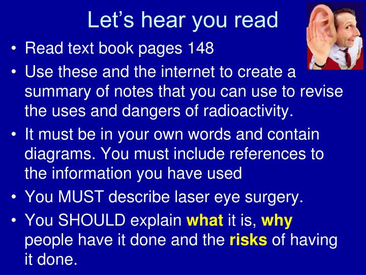 Let's hear you read