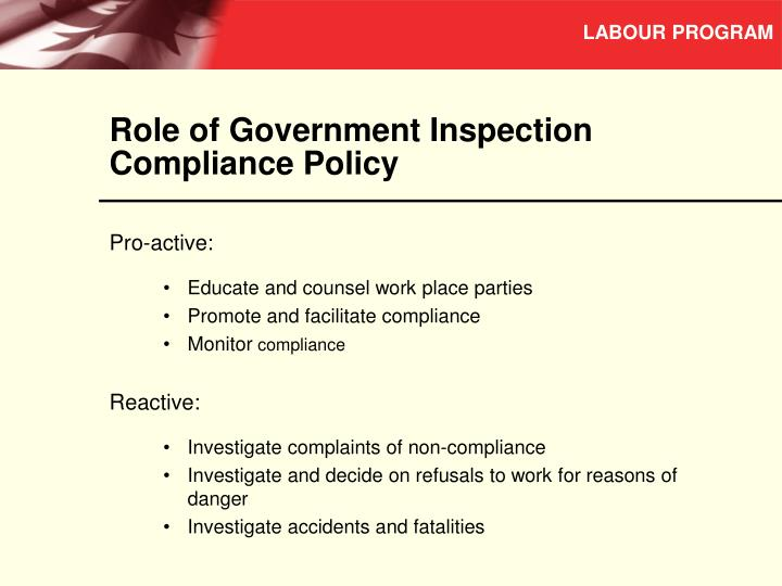 Role of Government Inspection Compliance Policy