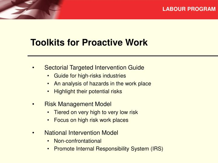 Toolkits for Proactive Work