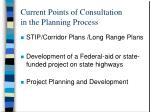 current points of consultation in the planning process