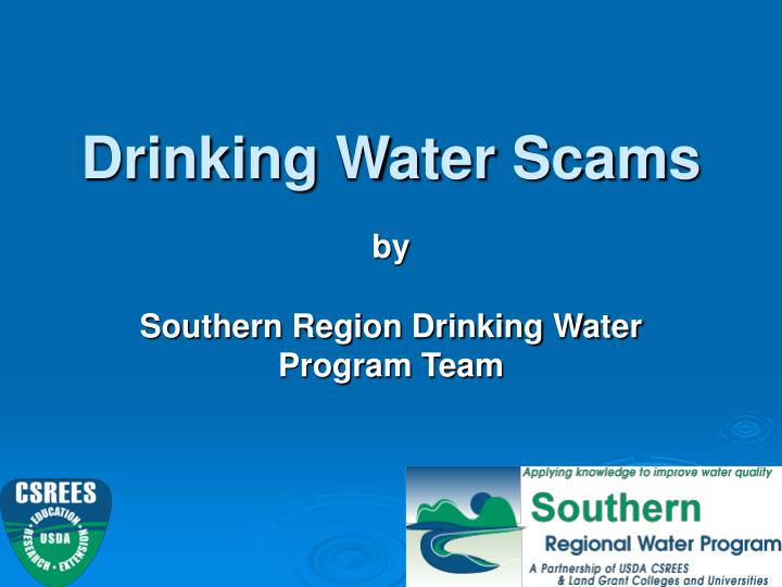 Drinking water scams
