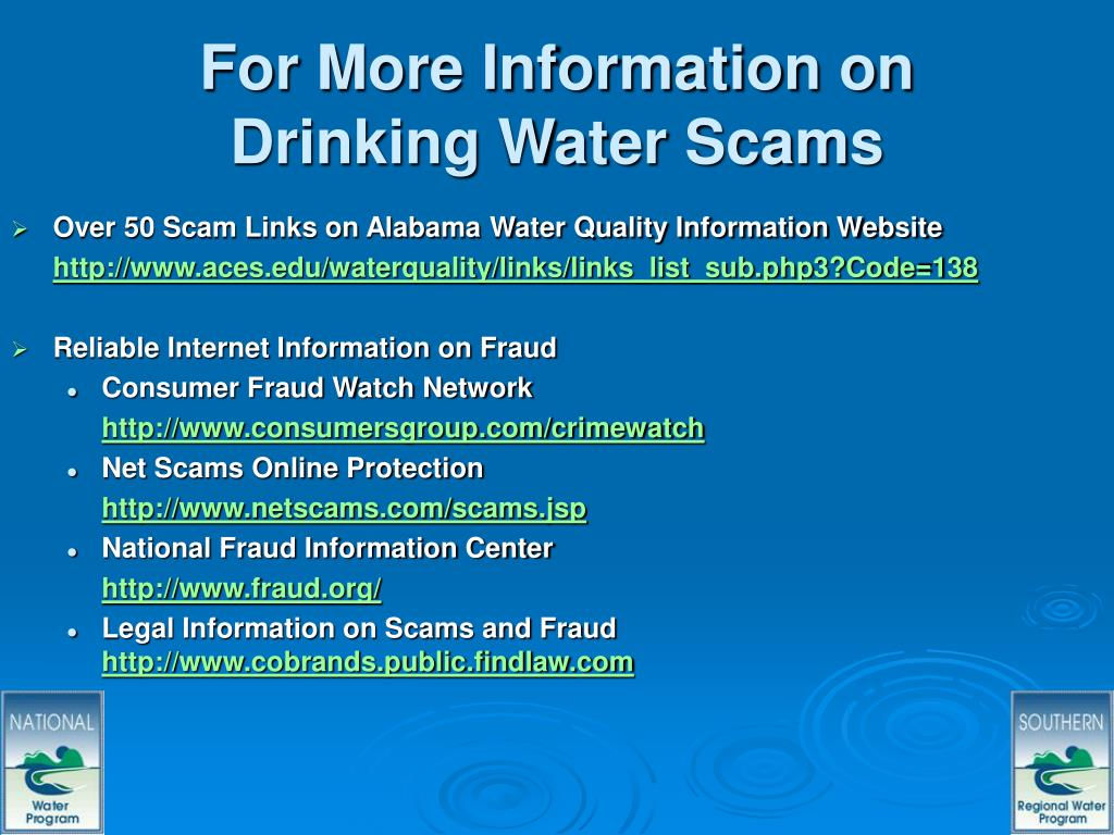 For More Information on Drinking Water Scams