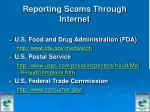 reporting scams through internet