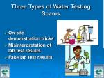 three types of water testing scams