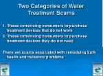 two categories of water treatment scams