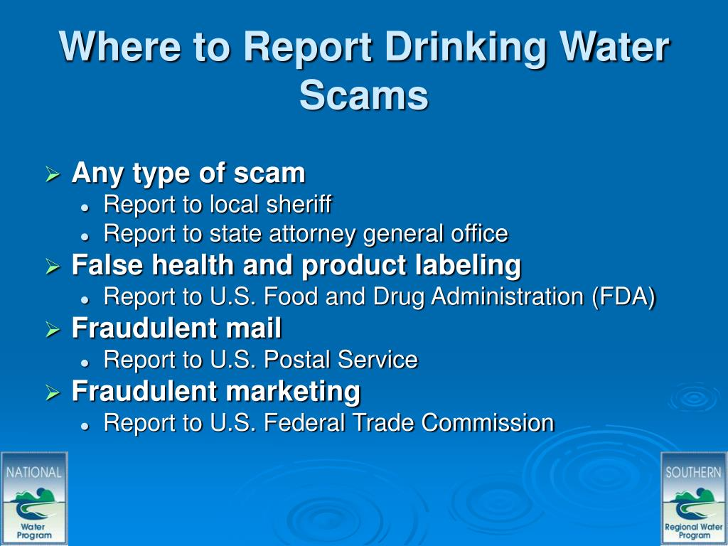 Where to Report Drinking Water Scams