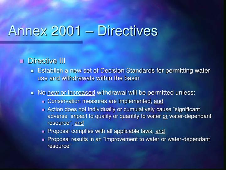 Annex 2001 – Directives