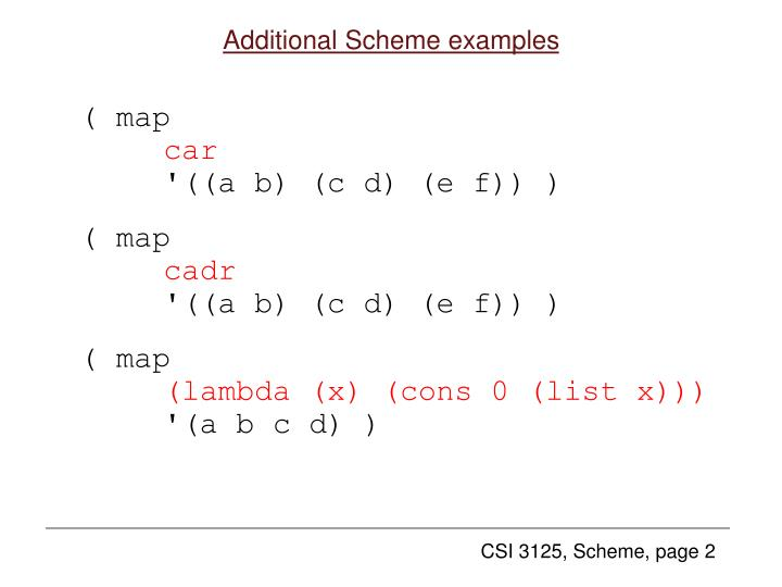 Additional scheme examples1