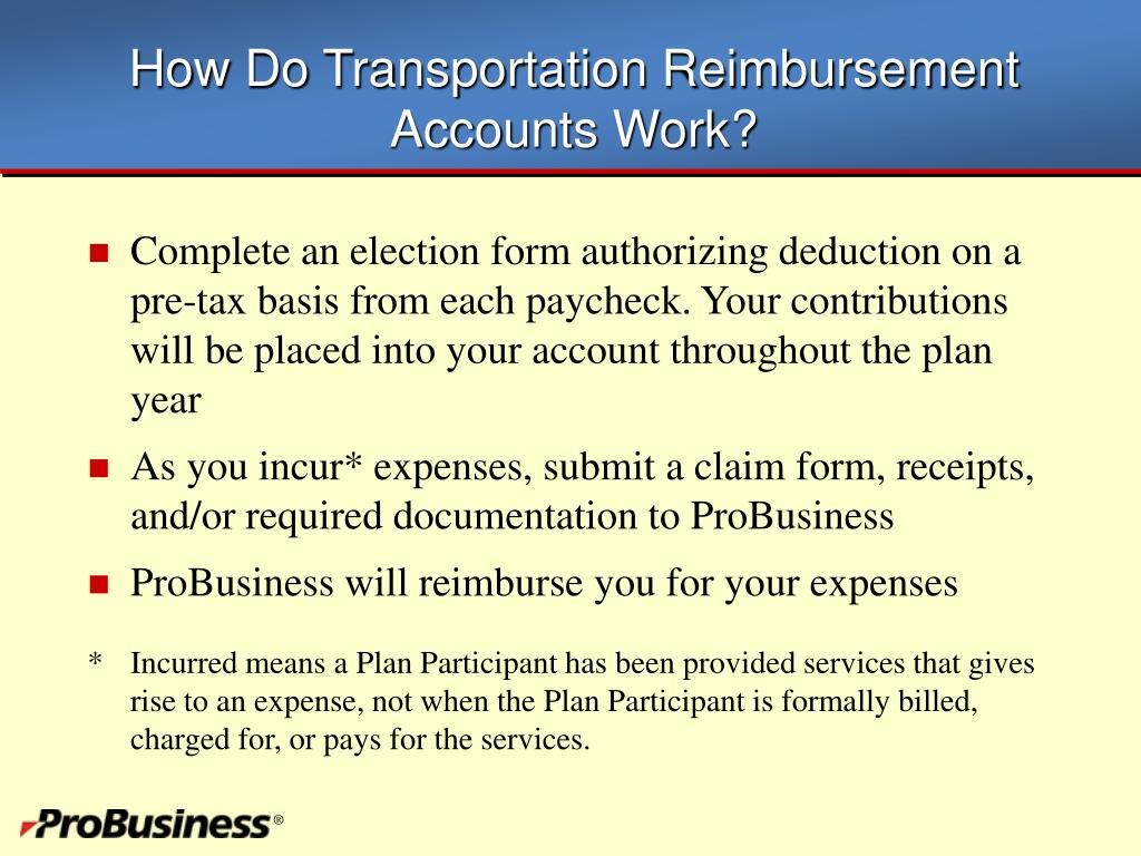 How Do Transportation Reimbursement Accounts Work?