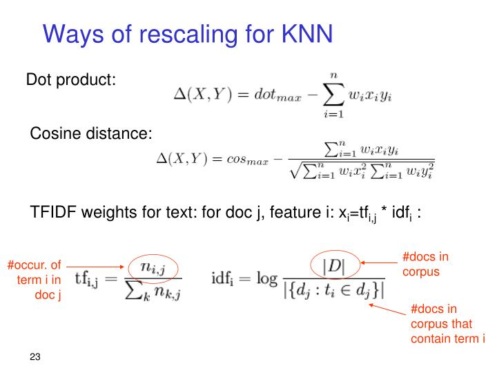 Ways of rescaling for KNN