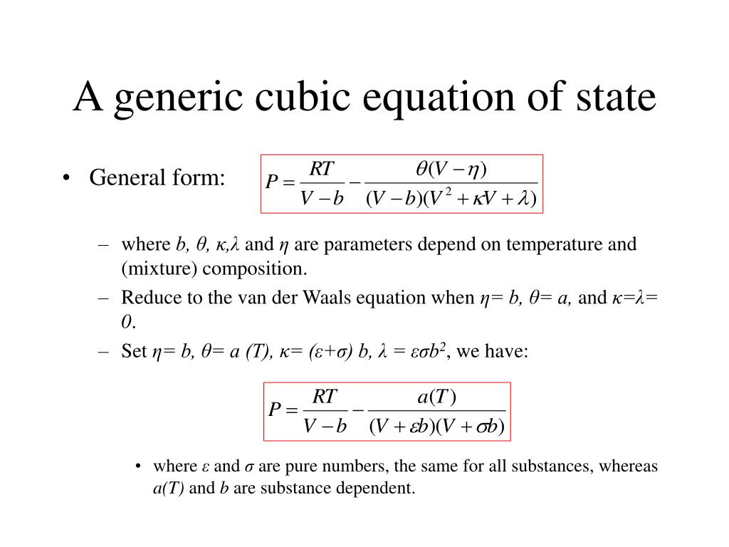 A generic cubic equation of state