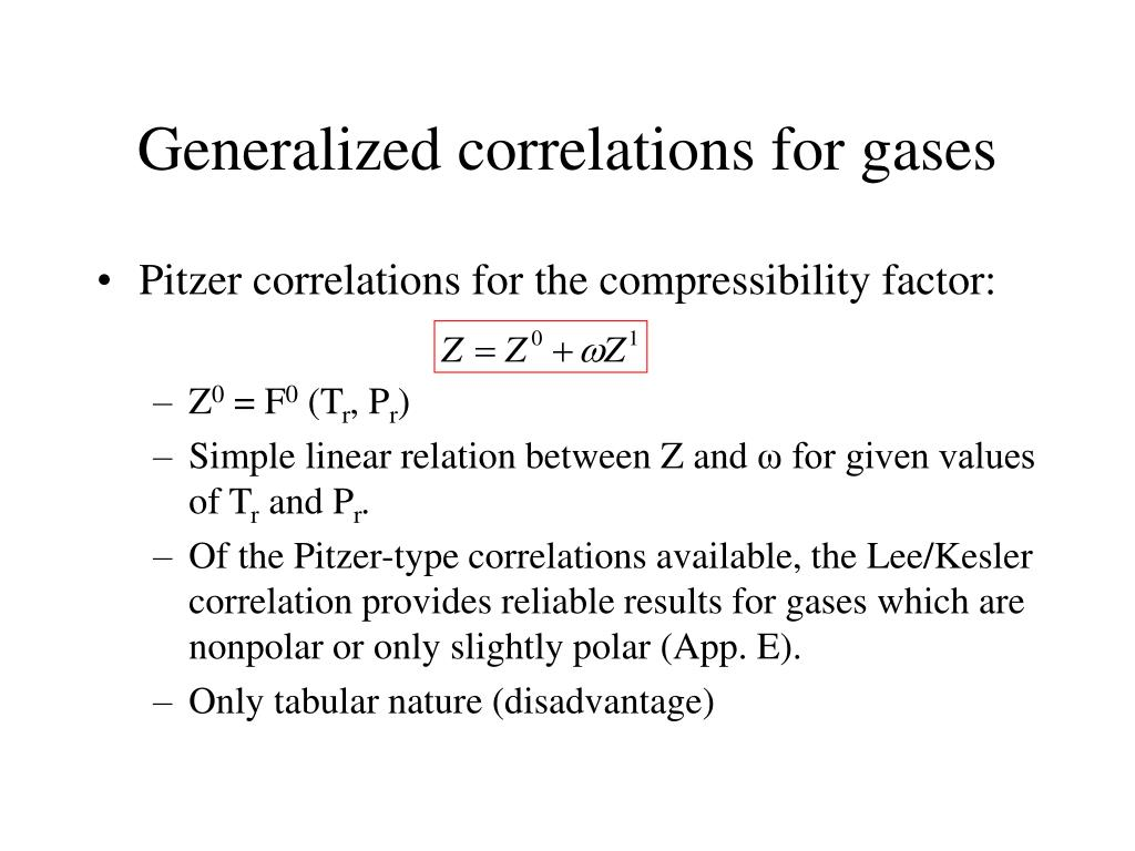 Generalized correlations for gases