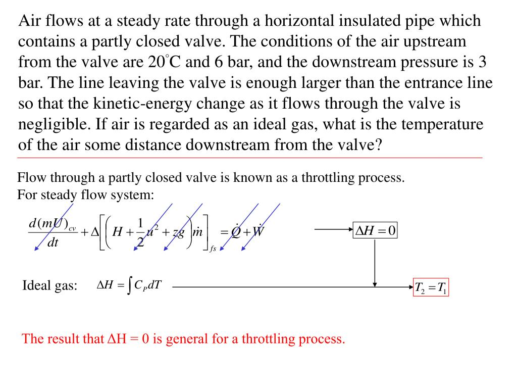 Air flows at a steady rate through a horizontal insulated pipe which contains a partly closed valve. The conditions of the air upstream from the valve are 20°C and 6 bar, and the downstream pressure is 3 bar. The line leaving the valve is enough larger than the entrance line so that the kinetic-energy change as it flows through the valve is negligible. If air is regarded as an ideal gas, what is the temperature of the air some distance downstream from the valve?